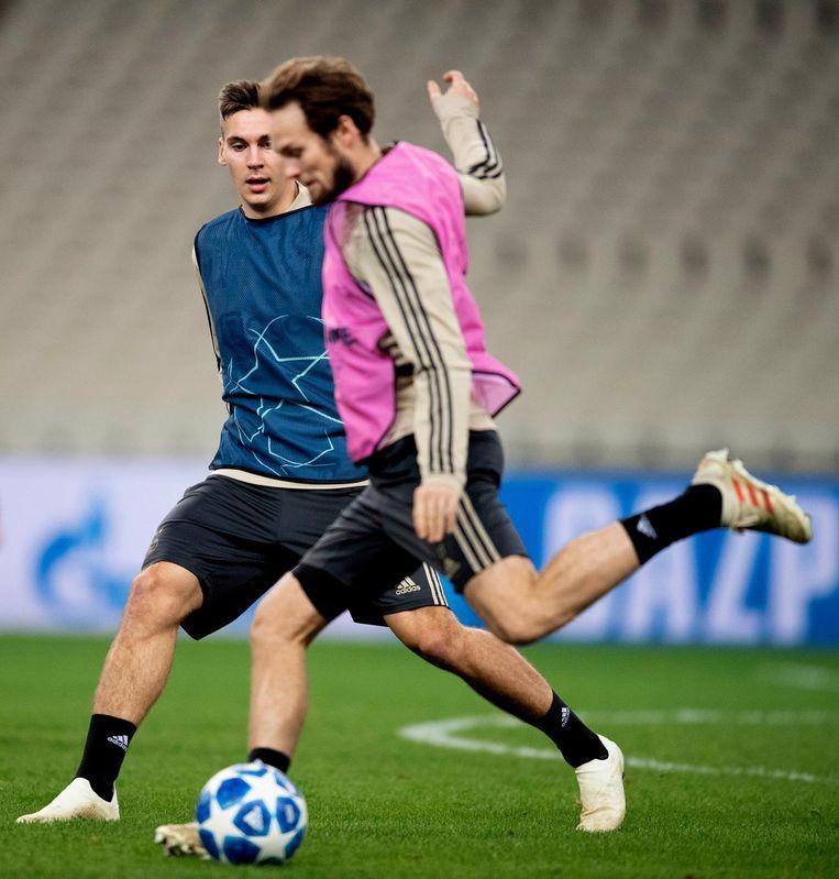 Daley Blind tijdens de voorbereiding op de wedstrijd tegen AEK Beeld anp