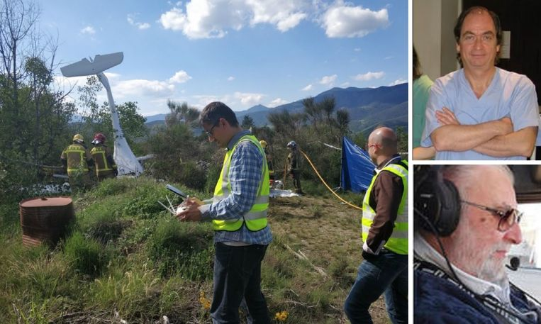 Links: de plek van de crash. Rechts: Philippe Gutwirth (bovenaan) en Joseph Gilman (onderaan).