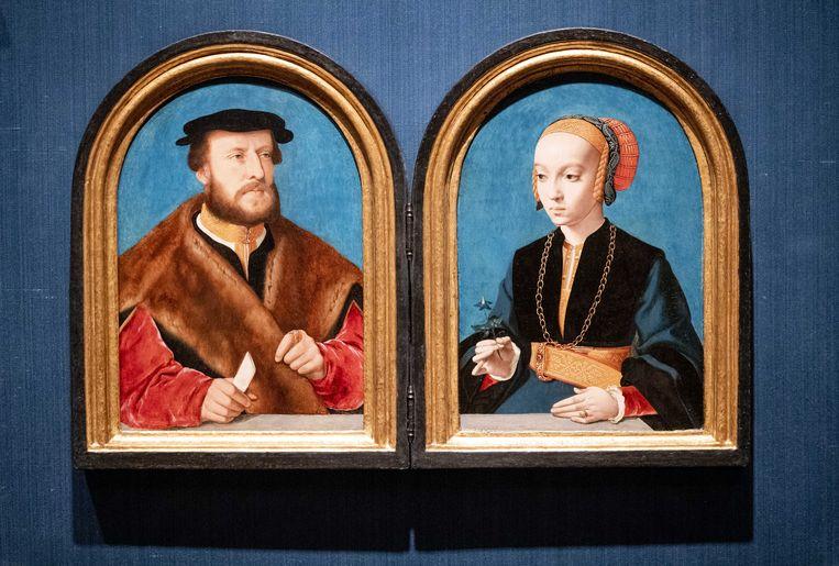 De herenigde portretten van Jakob Omphalius en Elisabeth Bellinghausen van de hand van Bartholomäus Bruyn de Oude. Beeld ANP