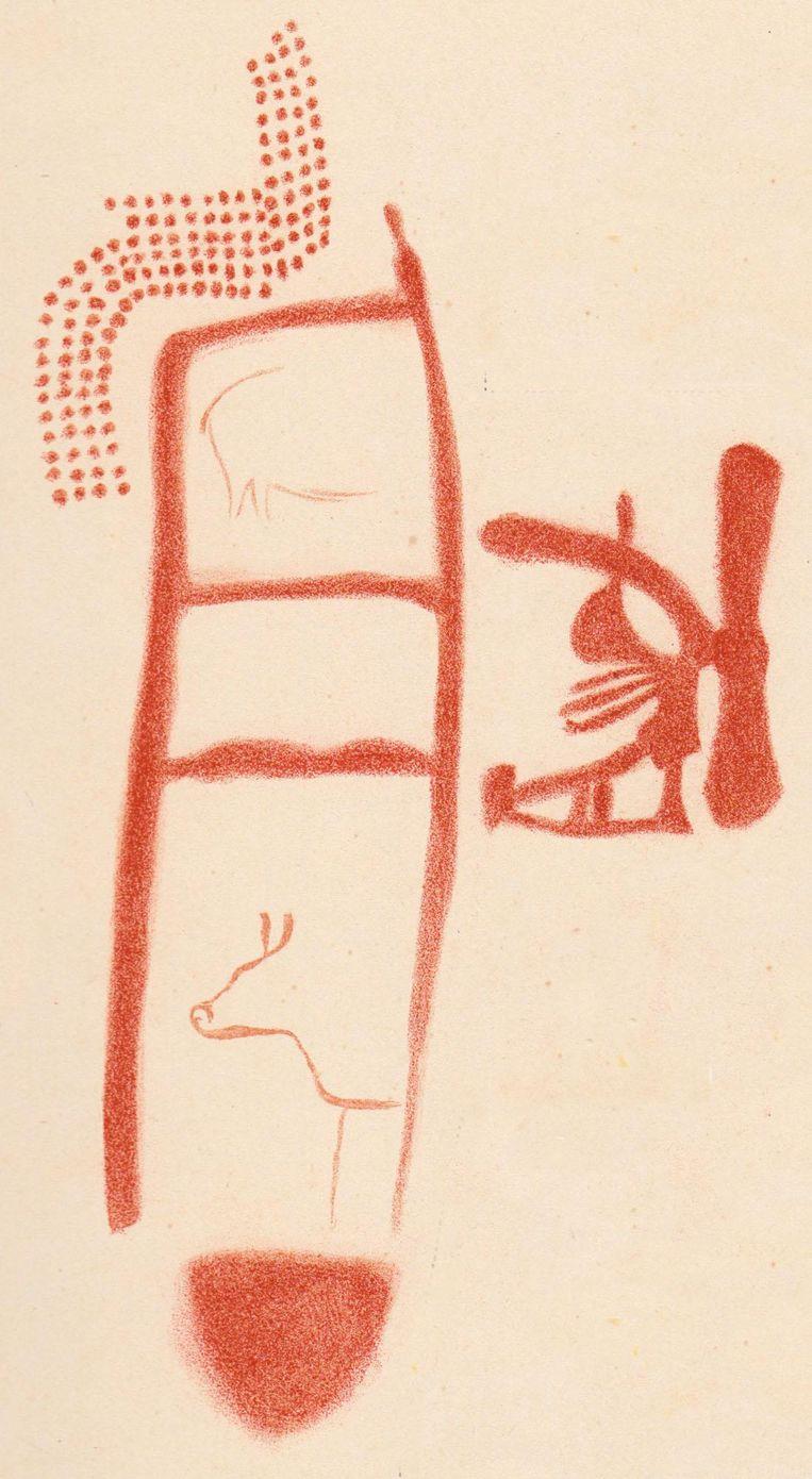 Getekende weergave van wat de tekening in de grot La Pasiega toont. De dierenfiguren zijn waarschijnlijk veel later aangebracht. Beeld Science
