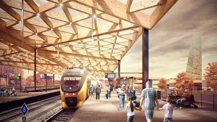 Het station krijgt een overkapping van hout en glas. Beeld gemeente Ede