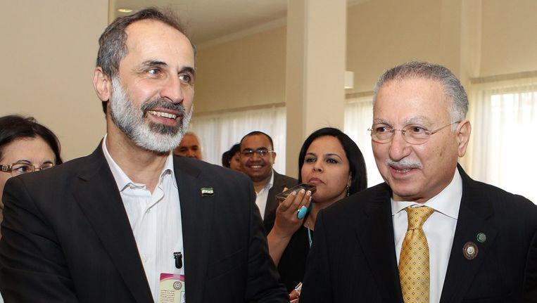 De Syrische oppositieleider Moaz al-Khatib in Doha, Qatar. Beeld epa