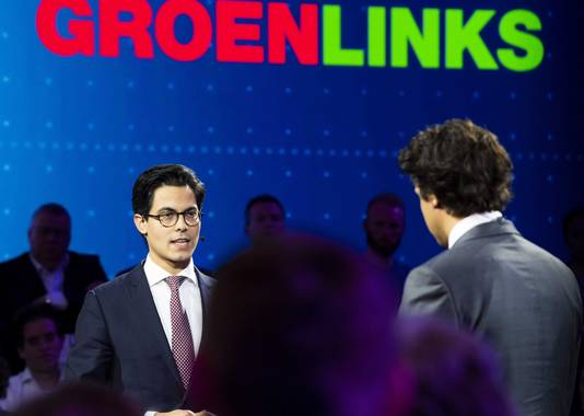 Lijsttrekkers Rob Jetten (D66) en Jesse Klaver (GroenLinks)
