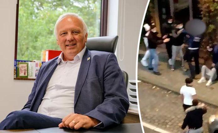 Carlo Medo, voorzitter van vakbond NSPV. Foto rechts: drie agenten in het Brusselse Elsene kregen op 14 november klappen bij een interventie.