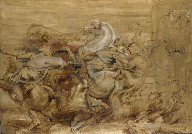 Peter Paul Rubens, Leeuwenjacht, ca. 1615, olieverf op paneel, Londen, The National Gallery Beeld Museum Boijmans Van Beuningen