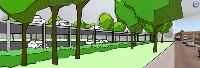 Een impressie van de parkeergarage voor Bolwerk Buitenwacht in Kampen, gezien vanaf de Sportlaan in IJsselmuiden.