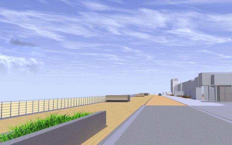 Zo zal de Zeedijk in Sint-Idesbald eruit zien tegen de zomer van volgend jaar.