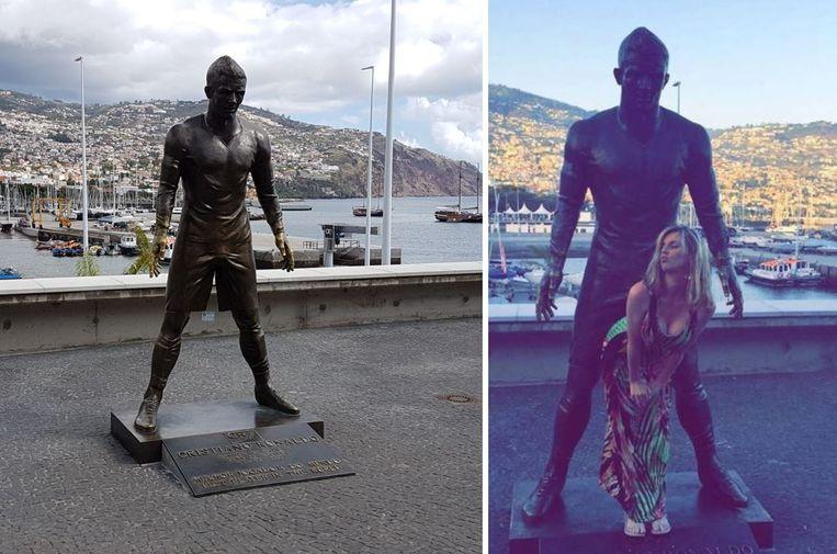 Het standbeeld van Ronaldo begint stilaan af te takelen ter hoogte van de handen en de edele delen.