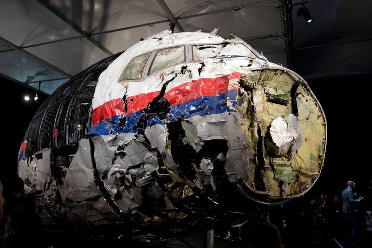 Reconstructie van het wrak van Malaysia Airlines MH17.