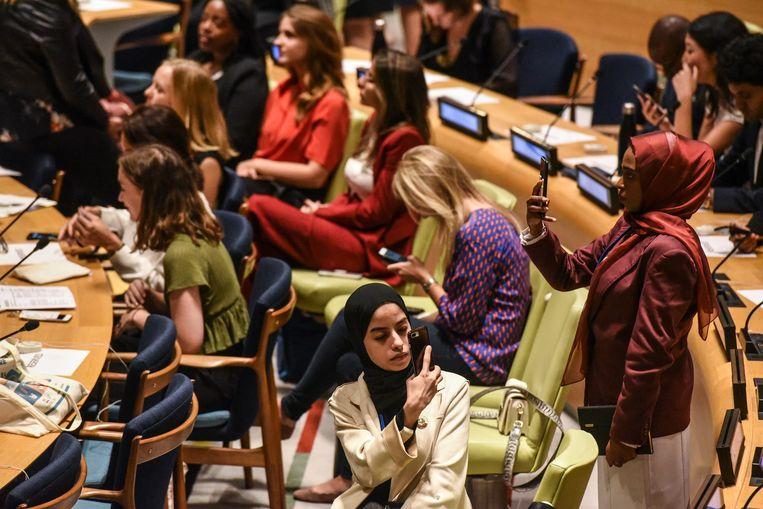 Deelnemers aan de Youth Climate Summit in New York.  Beeld AFP