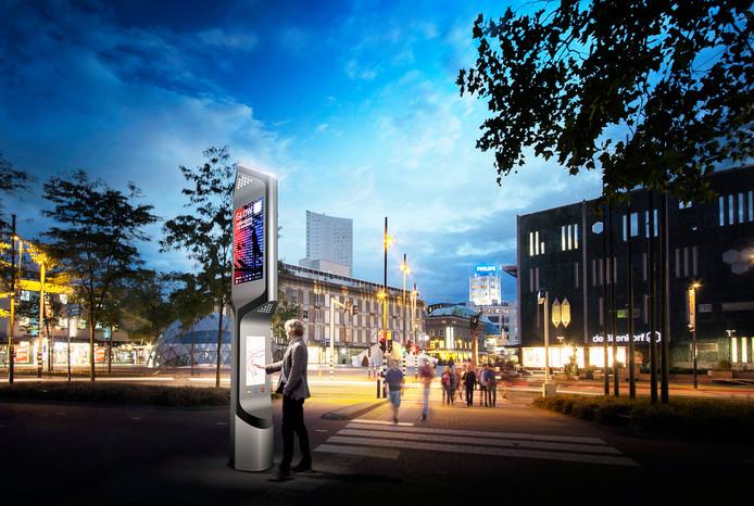 Ook de Eindhovense Citybeacons die her en der in het centrum staan, herbergen een aantal sensoren.