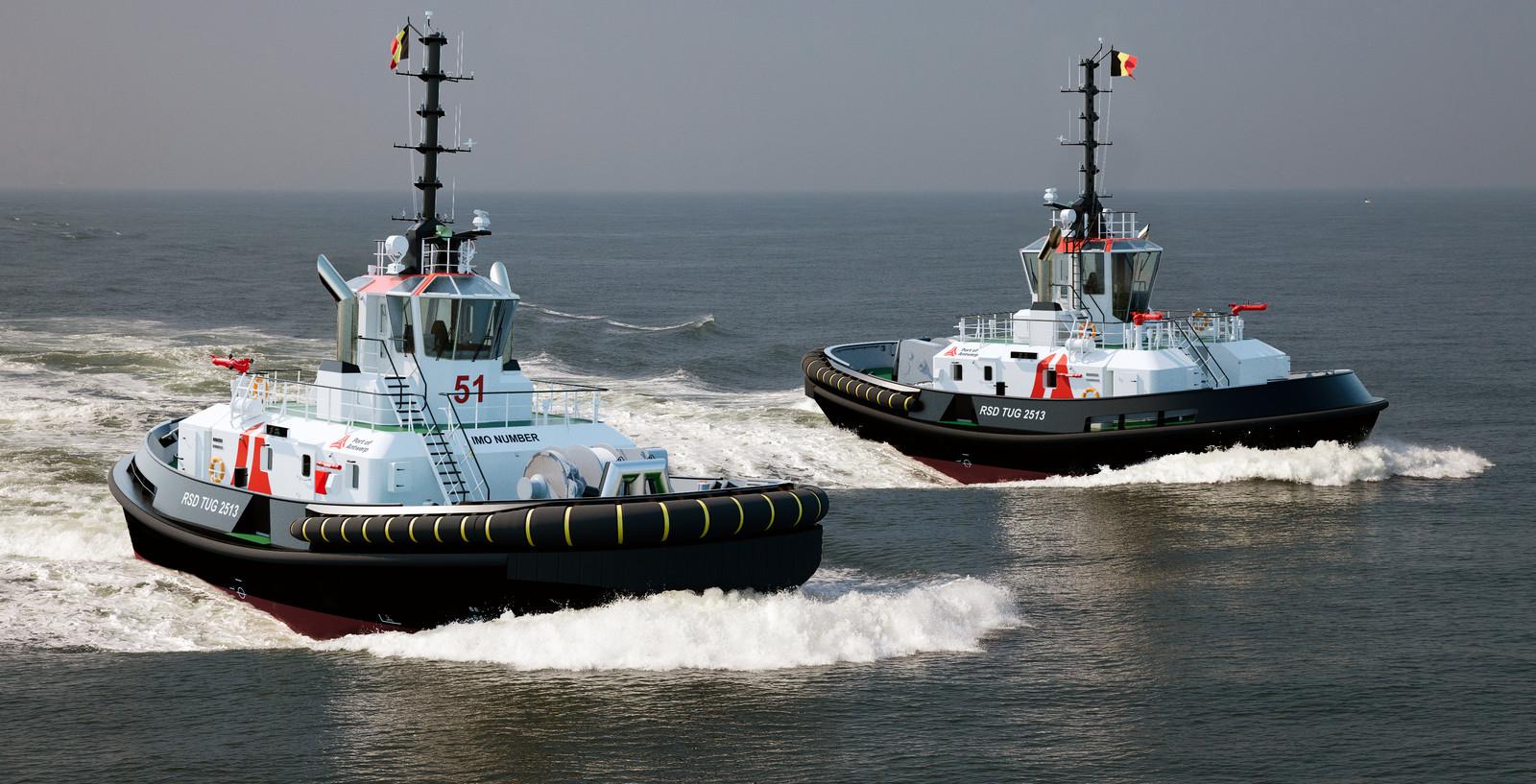 Een artist-impressie van de twee nieuwe Damen-sleepboten voor het Havenbedrijf van Antwerpen.