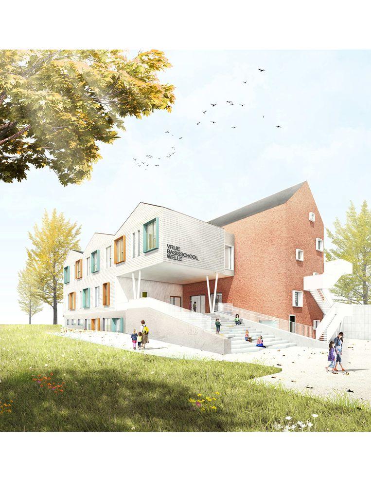 Een toekomstbeeld van de nieuwbouw voor de Vrije Basisschool Welle.