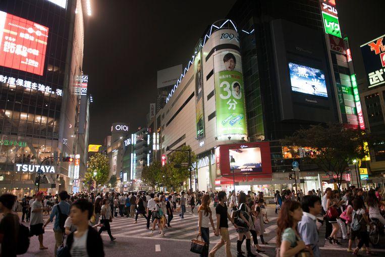 Straatbeeld van de wijk Shibuya in Tokio.
