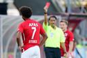 Calvin Stengs of AZ Alkmaar receives a red card during AZ Alkmaar - PEC Zwolle NETHERLANDS ONLY COPYRIGHT SOCCRATES/BSR