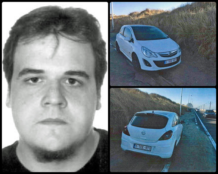 Kevin Matagne en zijn witte Opel Corsa die langs de kustbaan in Oostende werd teruggevonden.
