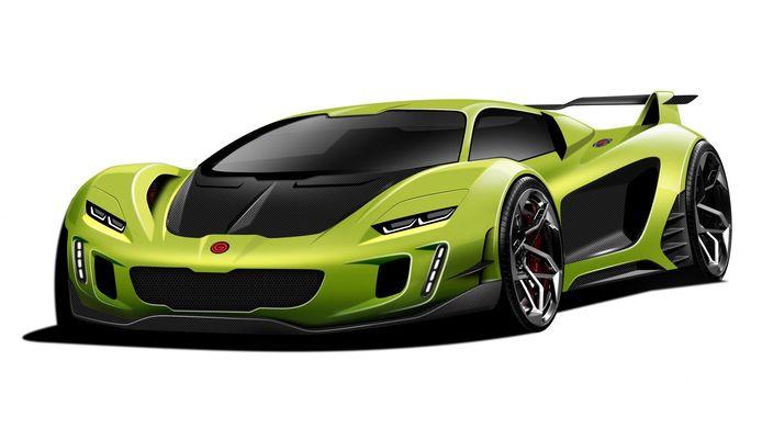 Eerste schetsen van Gemballa's eigen supercar.