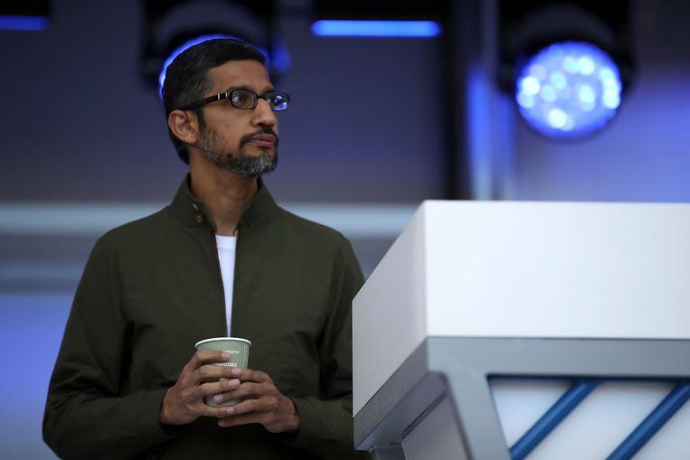 Google CEO Sundar Pichai tijdens zijn presentatie.