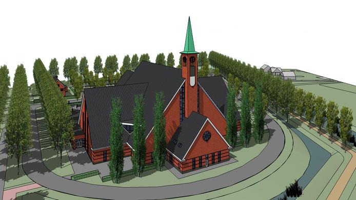 De nieuwe kerk van de Gerformeerde Gemente in Yerseke wordt, inclusief torenspits,  45 meter hoog.