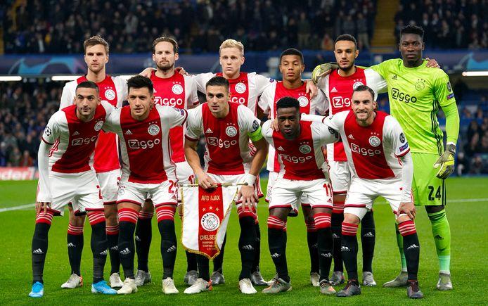 De wedstrijdselectie van Ajax in het Champions League-duel met Chelsea. Boven v.l.n.r: Joel Veltman, Daley Blind, Donny Van de Beek, David Neres, Noussair Mazraoui and Andre Onana. Beneden v.l.n.r: Hakim Ziyech, Lisandro Martinez, Dusan Tadic, Quincy Promes and Nicolas Tagliafico.