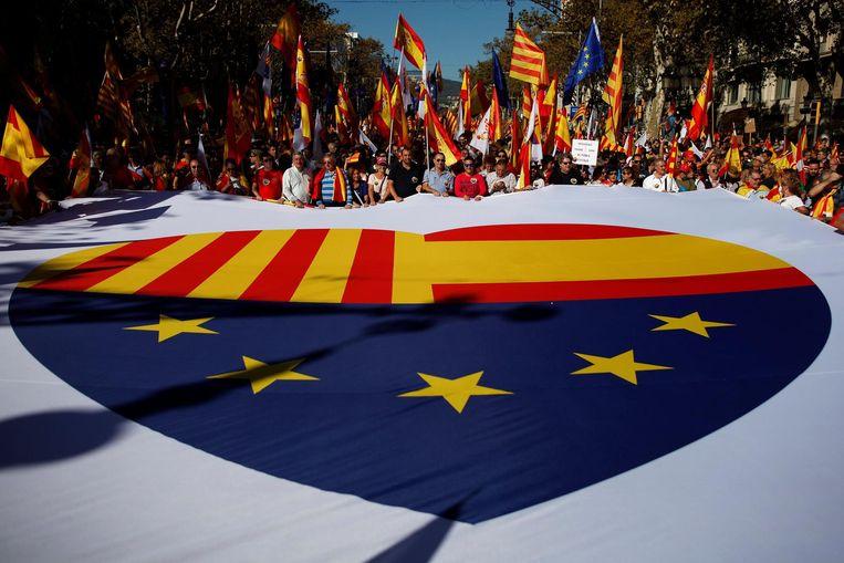 Demonstranten roepen op tot eenheid binnen Spanje en de Europese Unie. De EU steunt de Spaanse regering. Beeld reuters