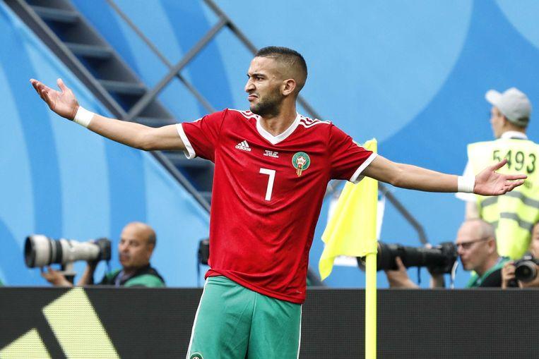 Middenvelder Hakim Ziyech tijdens de WK wedstrijd Marokko tegen Iran. Beeld ANP