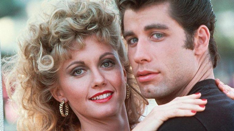 Olivia Newton-John en John Travolta in de musicalfilm Grease. Beeld