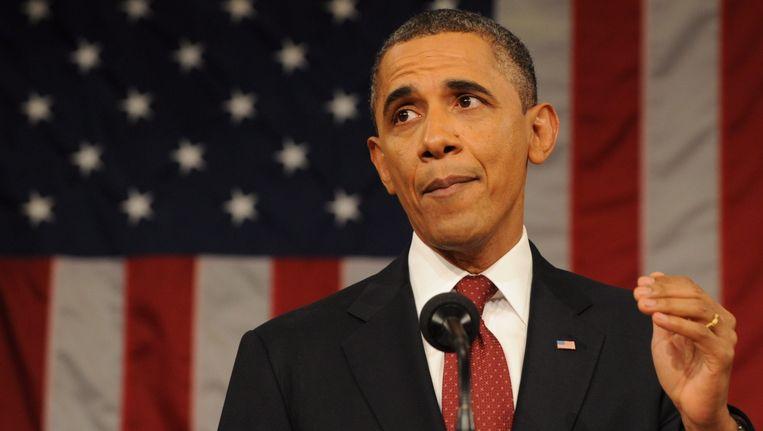 President Obama tijdens de State of the Union. Beeld epa