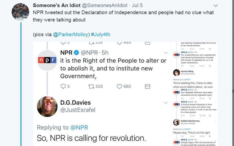 De Declaration of Indepedence tweeten op 4 juli? Dat doe je in 2017 niet zonder op je donder te krijgen.