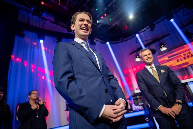 Sebastian Kurz, leider van de ÖVP, en Norbert Hofer, leider van de rechtse FPÖ arriveren in een studio voor een tv-debat. Op 29 september zijn er verkiezingen in Oostenrijk. Beeld EPA