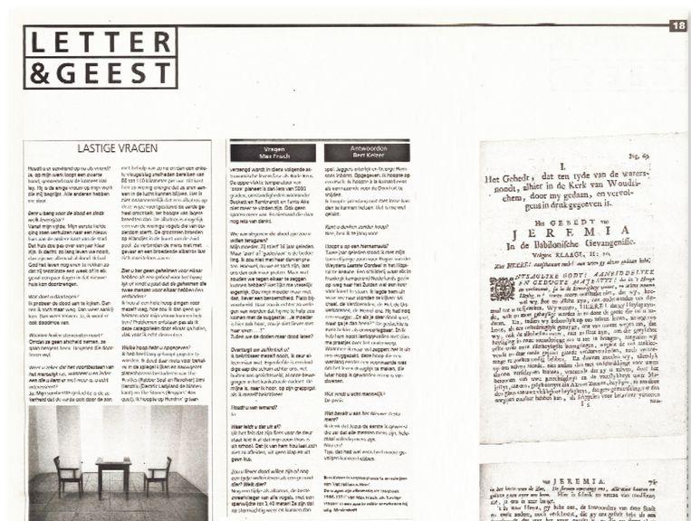 De rubriek 'Lastige Vragen' verscheen in 1995 in Letter&Geest. Beeld Trouw