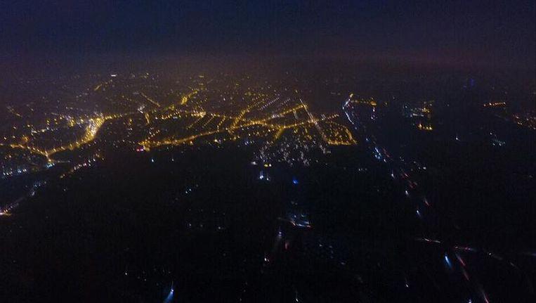Een luchtbeeld van de hoofdstad tijdens de stroompanne.
