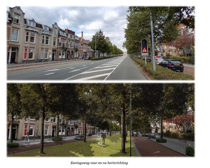 Een impressie van de Koningsweg, voor en na een herinrichting, uit een document in 2014. De uitvoering kan dus afwijken.