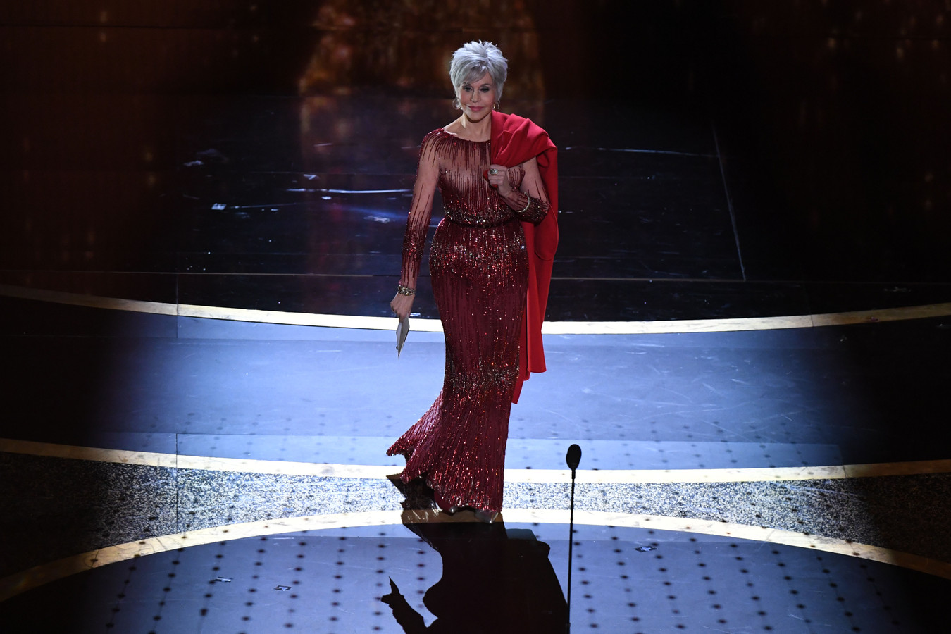 US actress Jane Fonda walks onstage to present the award for Best Picture during the 92nd Oscars at the Dolby Theatre in Hollywood, California on February 9, 2020. (Photo by Mark RALSTON / AFP)