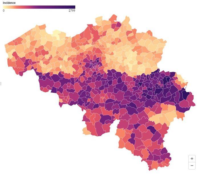 La Flandre en orangé, la Wallonie vire dangereusement au mauve foncé