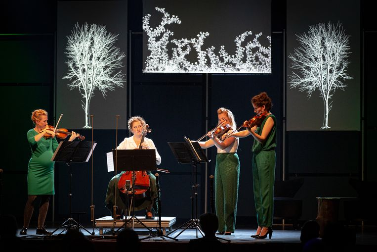 Het Ragazze Kwartet, met van links naar rechts Rosa Arnold, Rebecca Wise, Annemijn Bergkotte en Jeanita Vriens-van Tongeren. Beeld Nichon Glerum
