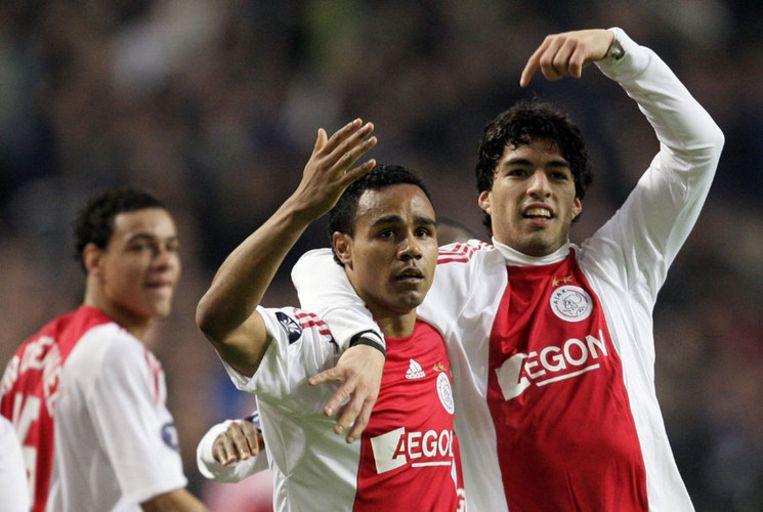 Leonardo en Suarez (rechts) na het gelijkspel. Foto ANP/Olaf Kraak Beeld