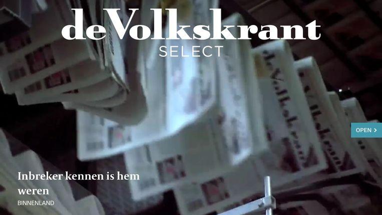 Boven en onder: beelden uit de iPad-versie van de Volkskrant select-app. Beeld null