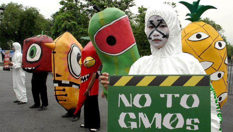 Protest tegen gentech door Greenpeace. Beeld afp
