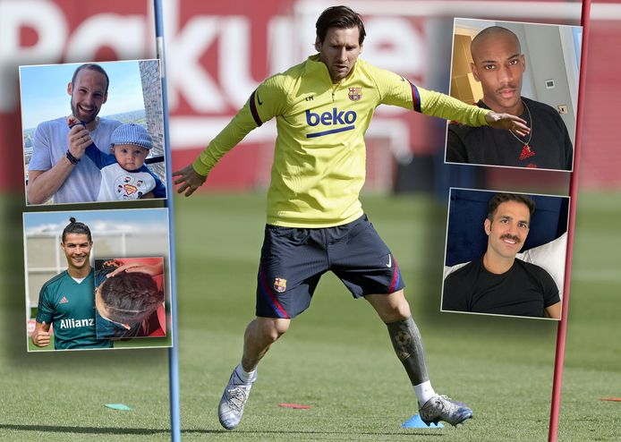 Lionel Messi, zonder baard. Met de klok mee, van links naar rechts: Daley Blind, Anthony Martial, Cesc Fàbregas en Cristiano Ronaldo.