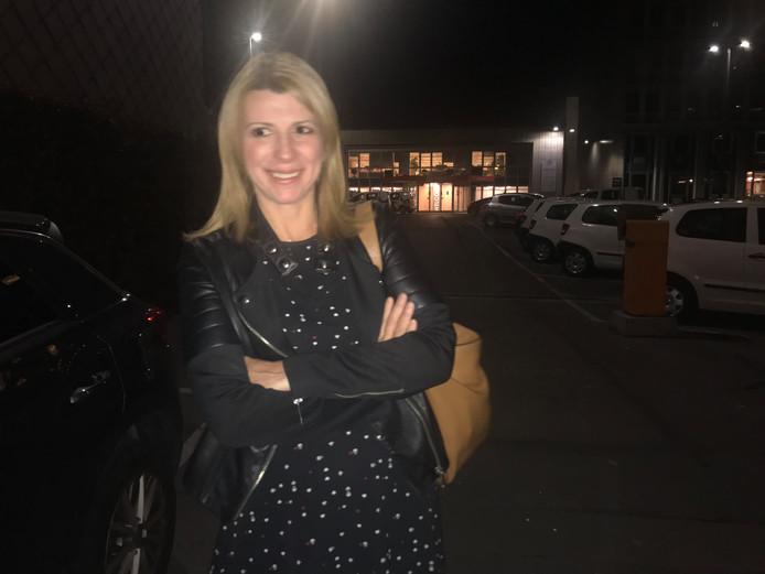 Muriel Targnion à la sortie de la réunion