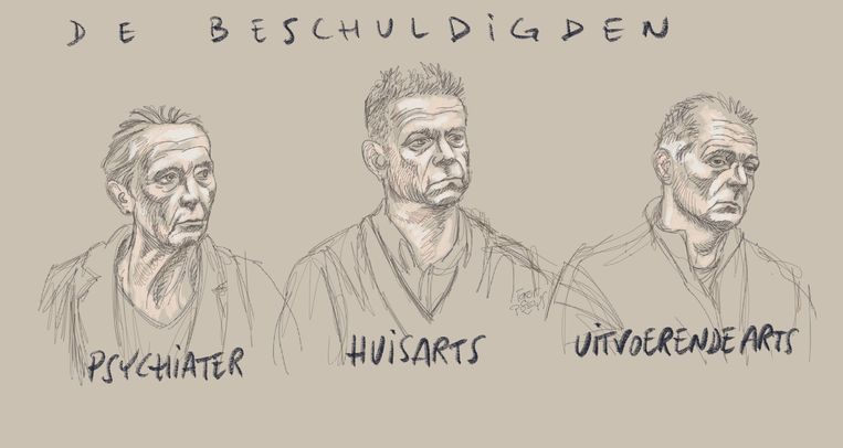 Een rechtbanktekening van de drie aangeklaagde artsen.  Beeld BELGA