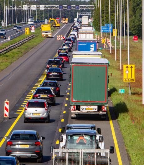 Werkzaamheden op A1 verplaatsen zich naar andere rijbaan
