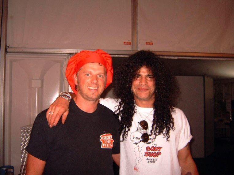 Peter Cambré als Rock'n Rollkok samen met legende Slash van Gun's N Roses