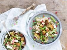 Wat Eten We Vandaag: Couscoussalade met falafel en sperziebonen