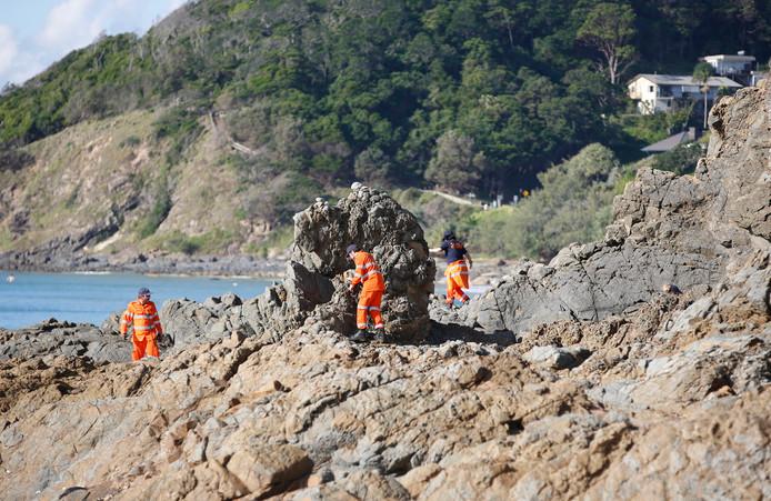 State Emergency Service (SES)-vrijwilligers  zoeken in het gebied rond de vuurtoren van Cape Byron naar sporen van Théo Hayez.