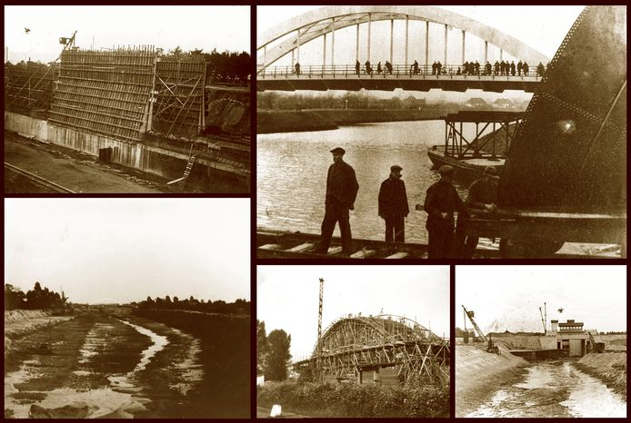 Het graven van het Twentekanaal en de aanleg van de verschillende kunstwerken bij Hengelo. Op de foto linksonder is een deel van de Vikkerhoekweg te zien.