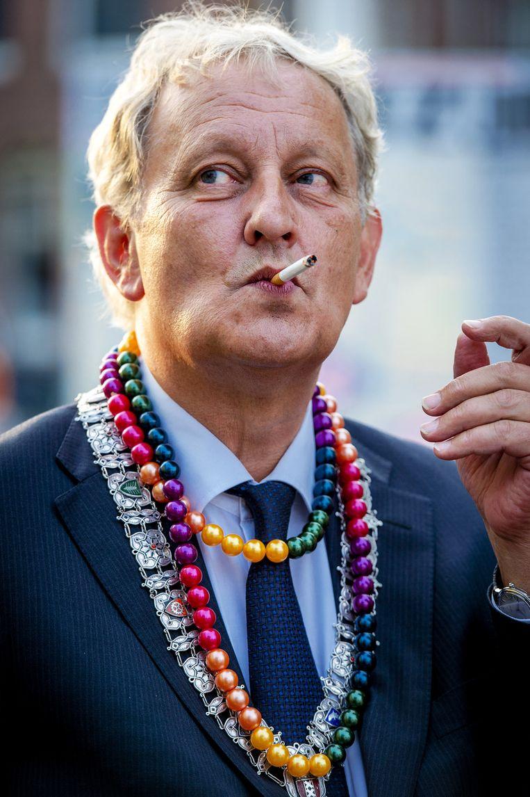 De Amsterdamse burgemeester Van der Laan tijdens To Russia With Love Beeld ANP