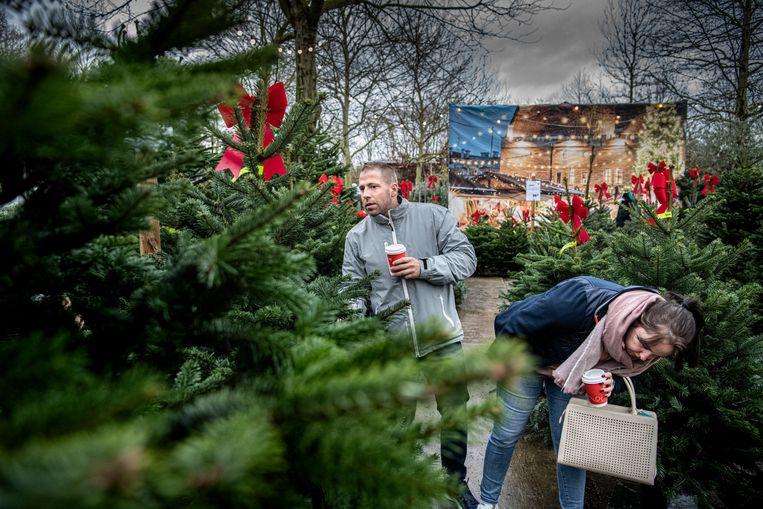 Vincent Verhoeven en Marieke Lourens zijn druk bezig met het uitzoeken van een kerstboom in een tuincentrum in Malden. Beeld Koen Verheijden