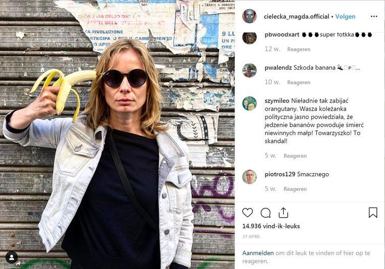 Instagram-rel na het weghalen van het kunstwerk van  Natalia LL uit het museum. Beeld